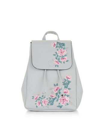 Grey Floral Embroidered Mini Backpack