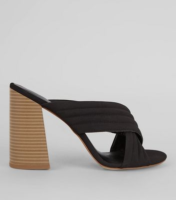 Black Cross Strap Block Heeled Mules