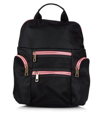 Black Neon Zip Trim Backpack