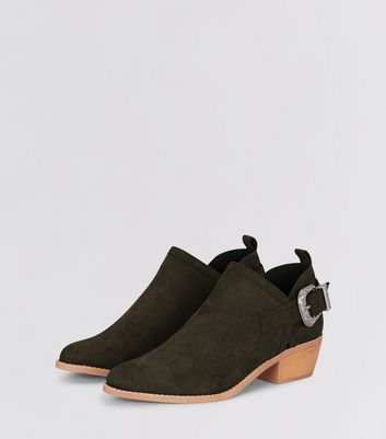 Green Suedette Buckle Side Low Heel Ankle Boots