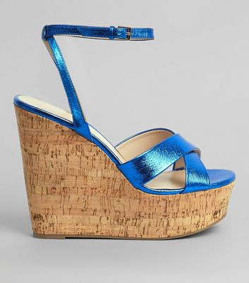 Blue Cross Strap Cork Wedge Heels