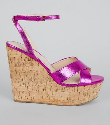 Pink Cross Strap Cork Wedge Heels