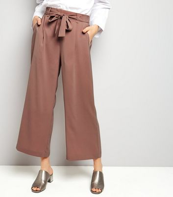 Tall Pink Tie Waist Cropped Trousers
