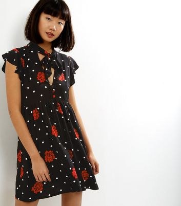 Motel Black Floral Spot Print Tie Neck Dress