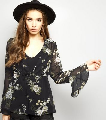 Black Chiffon Floral Print Bell Sleeve Tie Front Top