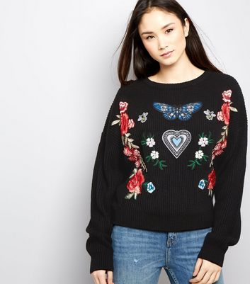 Tall Black Ribbed Floral Badge Jumper
