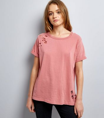 Tall Deep Pink Ripped Cut Out Neck T-Shirt