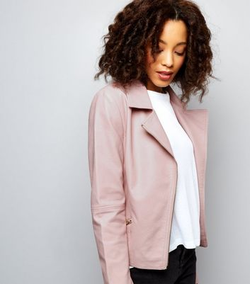 Tall Pink Leather-Look Biker Jacket