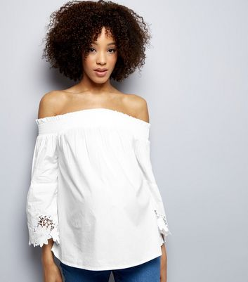 Maternity White Bardot Neck Lace Trim Bell Sleeve Top