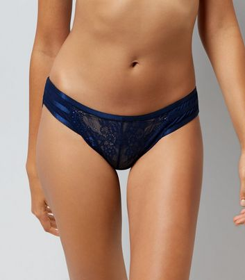 Navy Lace Strappy Back Brazilian Briefs