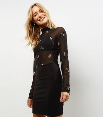 Motel Black Sheer Floral Embroidered Bodycon Dress