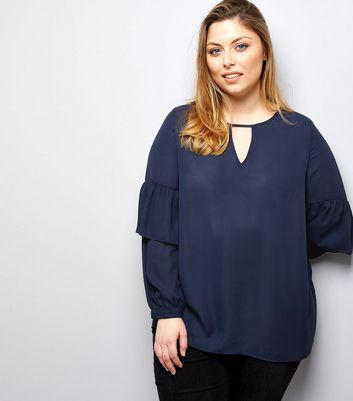 Curves Navy Frill Trim Sleeve Blouse
