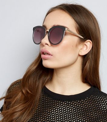 Black Round Preppy Sunglasses
