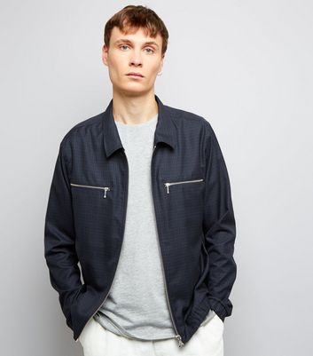 Navy Check Harrington Jacket
