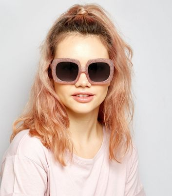Pink Glitter Square Oversized Sunglasses