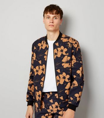 Navy Floral Print Tailored Bomber Jacket