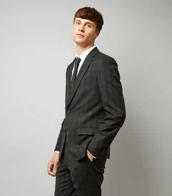 Black Check Slim Fit Suit Jacket
