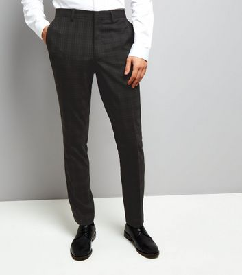 Black Check Skinny Suit Trousers