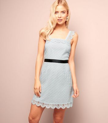 Pale Blue Scallop Hem Lace Tunic Dress