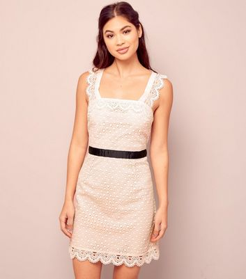 Shell Pink Lace Scallop Hem Mini Dress