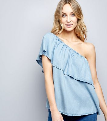 Blue Asymmetric Frill Trim Bardot Neck Top