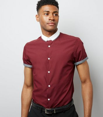 Burgundy Contrast Collar Short Sleeve Shirt