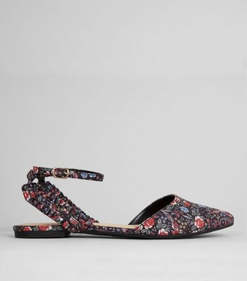 Black Floral Print Frill Trim Pointed Pumps