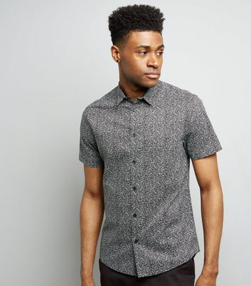 Black Petal Print Short Sleeve Shirt