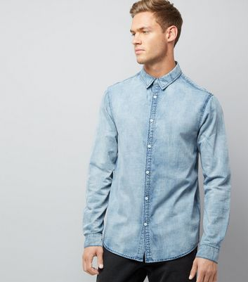Blue Acid Wash Long Sleeve Denim Shirt