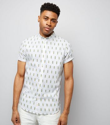 White Matchstick Print Short Sleeve Shirt