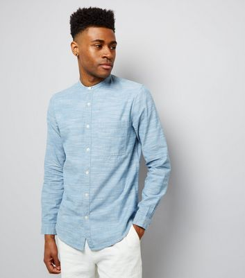 Blue Chambray Long Sleeve Grandad Collar Shirt