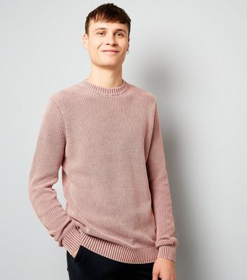 Pink Acid Wash Ribbed Jumper