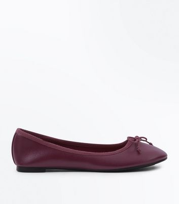 Burgundy Bow Front Ballet Pumps