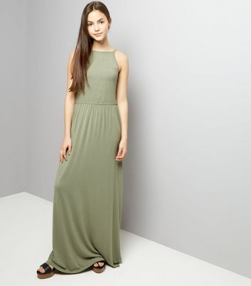 Teens Khaki Sleeveless Shirred Waist Maxi Dress