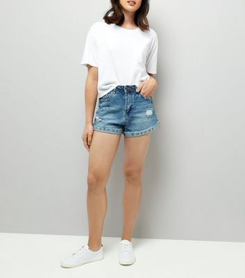 Blue Ripped Denim Mom Shorts