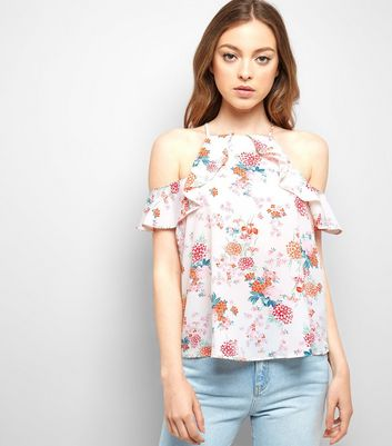 White Floral Print Frill Trim Cold Shoulder Top