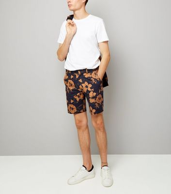 Navy Floral Print Tailored Shorts