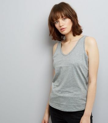 Mid Grey Scoop Neck Vest