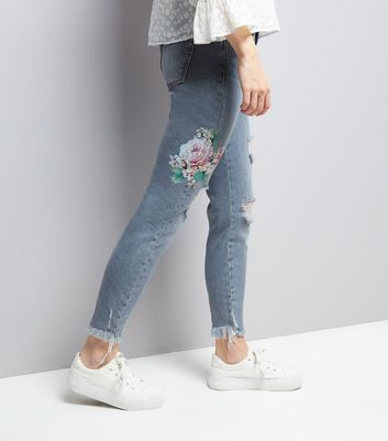 Blue Floral Embroidered Skinny Jenna Jeans