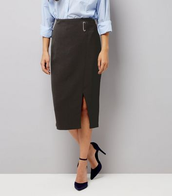 Black Eyelet Wrap Front Midi Skirt