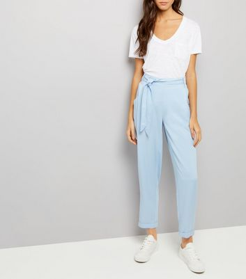 Pale Blue Tie Waist Trousers