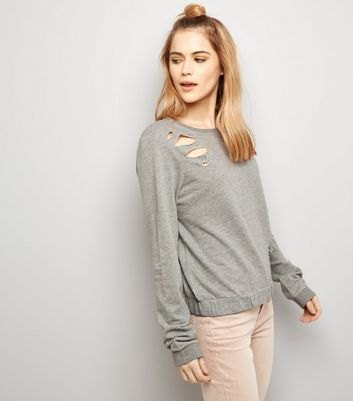 Noisy May Pale Grey Ripped Cropped Jumper
