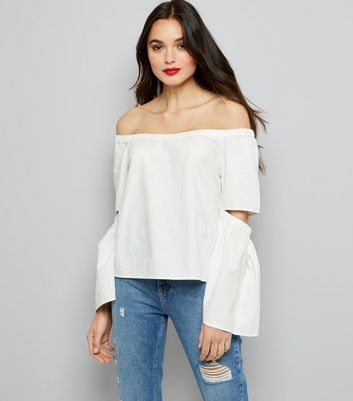 Noisy May White Cut Out Bardot Neck Top
