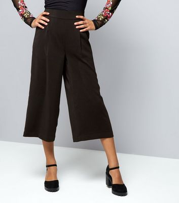 Teens Black Wide Leg Cropped Trousers