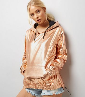 Rose Gold Metallic Overhead Anorak