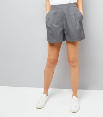 Grey Tailored Pleated Shorts