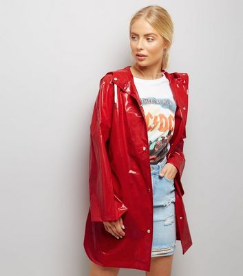 Red Oversized Hooded Anorak