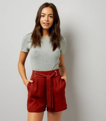 Dark Brown Tie Waist Shorts