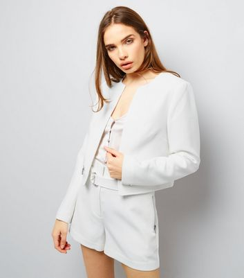 White Textured Cropped Jacket