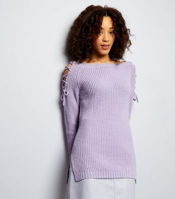 Lilac Lace Up Shoulder Jumper